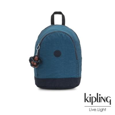 Kipling 復古土耳其藍雙拉鍊後背包-YARETZI