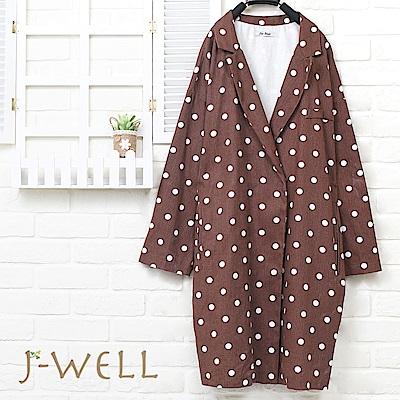 J-WELL 水玉點點西裝領長版外套(兩色)