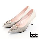 【bac】完美時刻漸層閃耀愛心飾釦尖頭高跟鞋-黑銀
