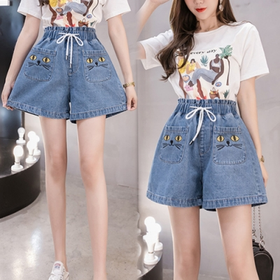 【韓國K.W.】(預購)韓流貓咪牛仔短褲裙-1色