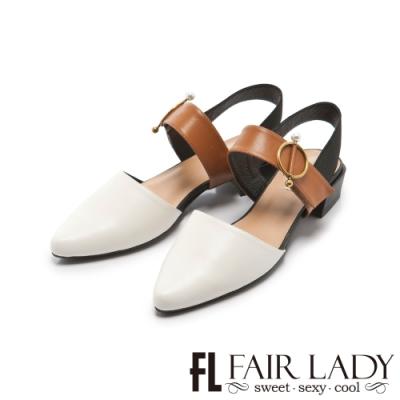 FAIR LADY 小時光珍珠金屬圓釦尖頭繫帶低跟鞋 白
