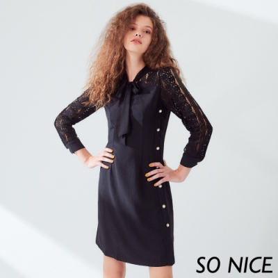 SO NICE優雅珍珠釦鏤空蕾絲洋裝