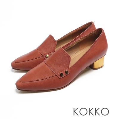 KOKKO - 小方頭柔軟感羊皮金屬粗跟鞋 - 磚橘紅