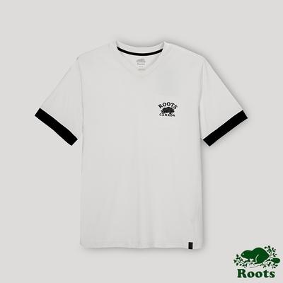 Roots男裝- 摩登週間系列  V領短袖T恤-灰白色