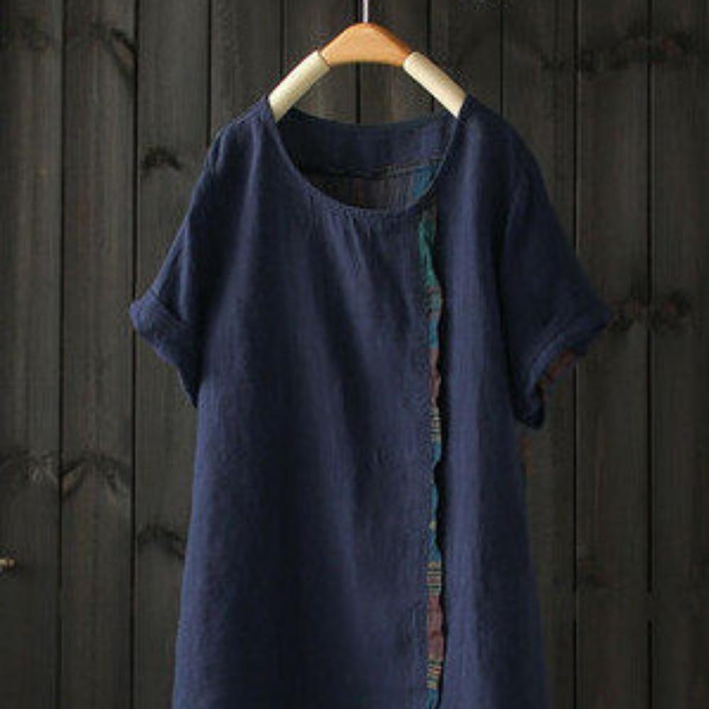 格子拼接苧麻t恤棉麻短袖罩衫上衣-設計所在