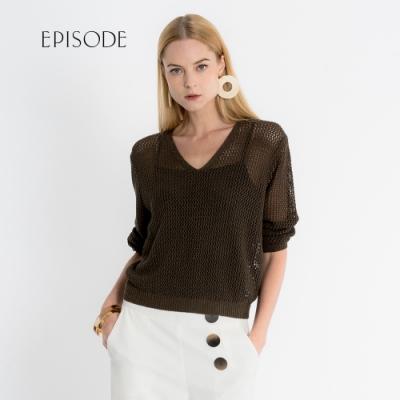 EPISODE - 百搭V領透膚針織網洞上衣