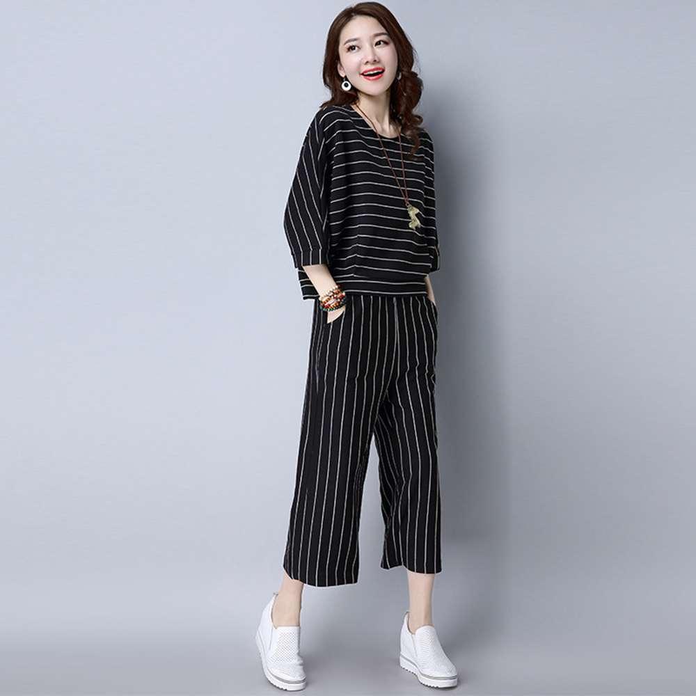 簡約休閒針織條紋套裝M-3XL(共三色)-REKO