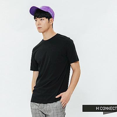 H:CONNECT 韓國品牌 男裝-素面口袋圓領T-shirt-黑