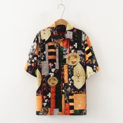 【韓國K.W.】(預購) 名媛舒適主打短袖襯衫上衣