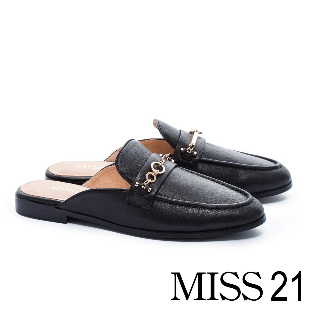 穆勒鞋 MISS 21 經典質感造型飾釦羊皮穆勒低跟拖鞋-黑