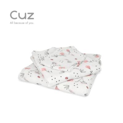 Cuz 粉紅花圃(紗布巾/方巾/嬰兒包巾)-115cm