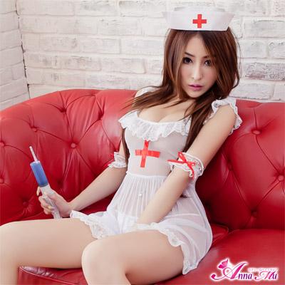 Anna Mu護士服幸福渡過!五件式護士服-白
