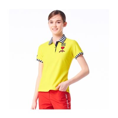 【Jack Nicklaus】金熊GOLF女款條紋彈性吸濕排汗POLO衫-黃色