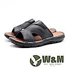 W&M 皮質柔軟舒適拖鞋 男鞋 - 黑(另有咖)
