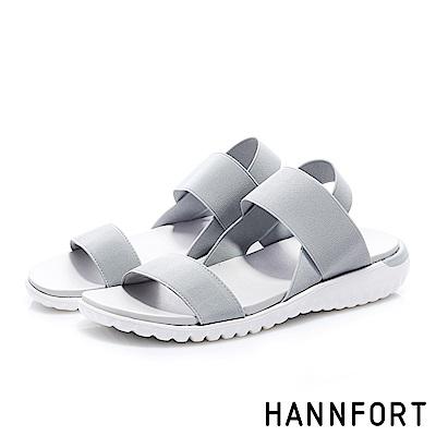 HANNFORT Ultra Flex 3D寬版鬆緊帶交叉涼鞋-女- 霜灰