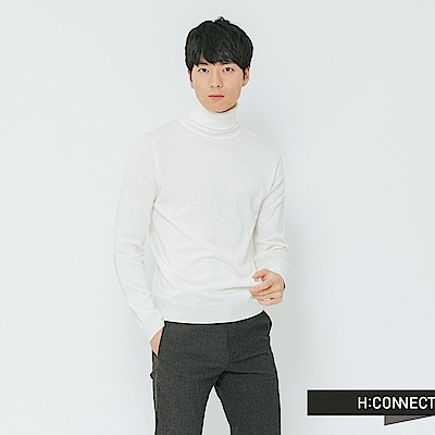 H:CONNECT 韓國品牌 男裝-純色高領針織上衣-白