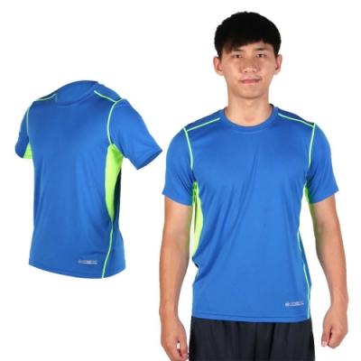FIRESTAR 男吸排圓領短袖T恤-短T 路跑 慢跑 藍螢光綠