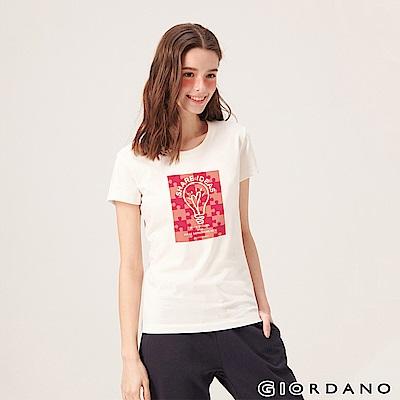 GIORDANO 女裝英文標語印花短袖T恤-65 標誌白