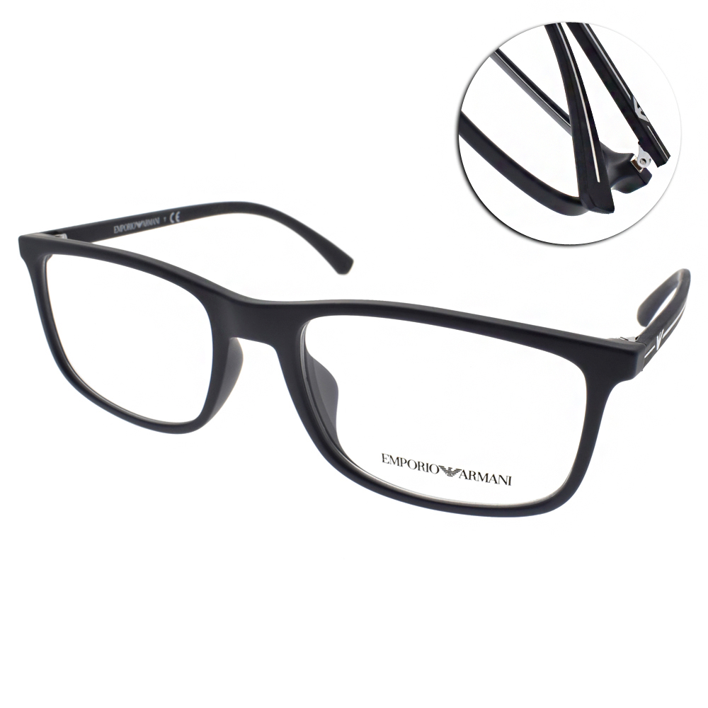 EMPORIO ARMANI眼鏡 簡約方框/深藍-黑#EA3135F 5692