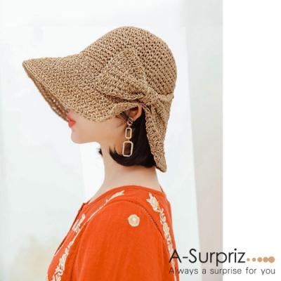 A-Surpriz 開岔蝴蝶結編織遮陽草帽(淺咖)
