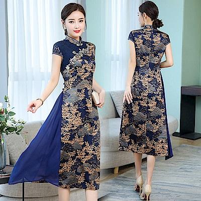 中國風改良復古旗袍洋裝M-3XL(共兩色)-REKO