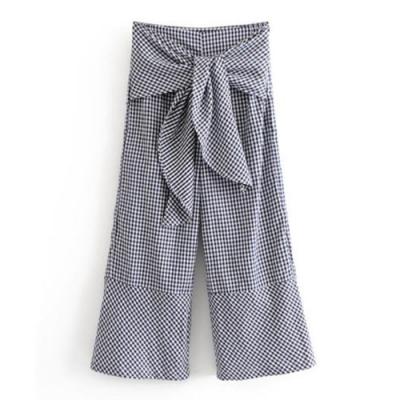 黑白格紋寬綁帶寬褲 TATA-(S/M)