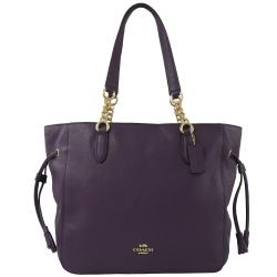 COACH 金屬LOGO牛皮鍊帶背帶拉鍊托特包(紫)