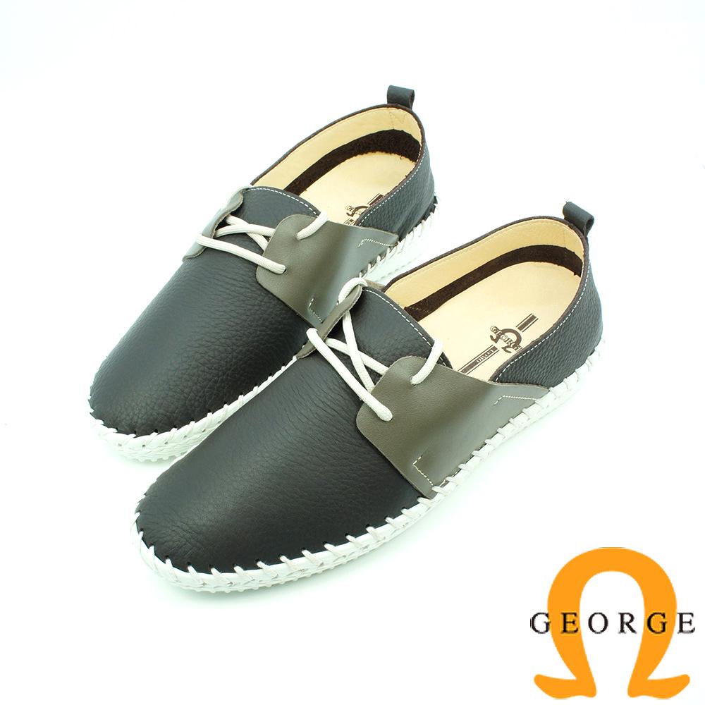 【GEORGE 喬治皮鞋】舒活系列 素面縫線綁帶黑面懶人鞋平底鞋-墨綠