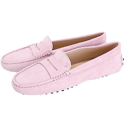 TOD'S Gommino 麂皮絨休閒豆豆鞋(女鞋/粉色)