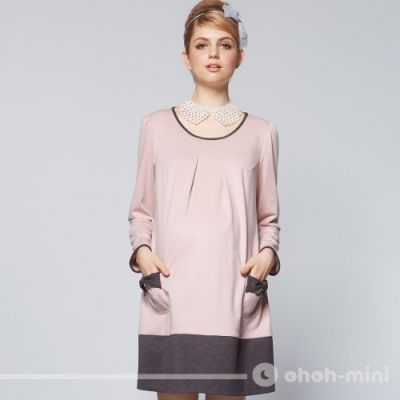 【ohoh-mini 孕婦裝】清甜美感雙色拼接孕婦洋裝