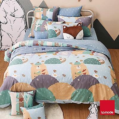 La Mode寢飾  1 . 2 . 3 .木頭人環保印染 100 %精梳棉磨毛兩用被床包組(加大)