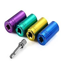 威力鯨車神 萬用工具扳手用套筒+連接桿/可接電鑽/專利設計板手_7-19mm_一入顏色隨機