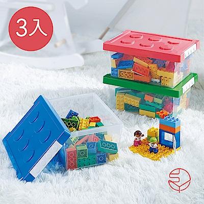 【日本霜山】樂高可疊式積木玩具收納盒-M-3入