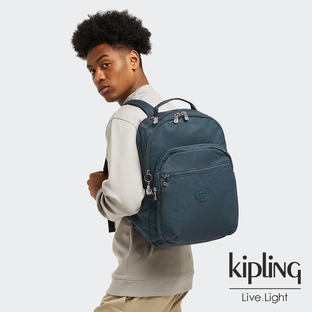 Kipling 知性優雅藍機能手提後背包-SEOUL