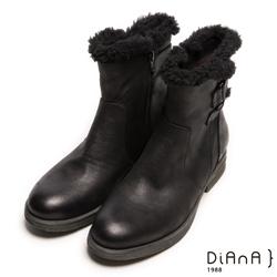 DIANA 暖心優雅-雙色牛紋雙繞帶茸毛滾邊短靴-黑