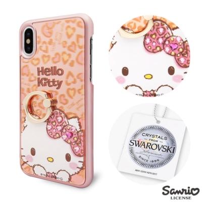 三麗鷗 Kitty iPhone XS Max 6.5吋施華彩鑽鏡面指環扣手機殼-豹紋凱蒂