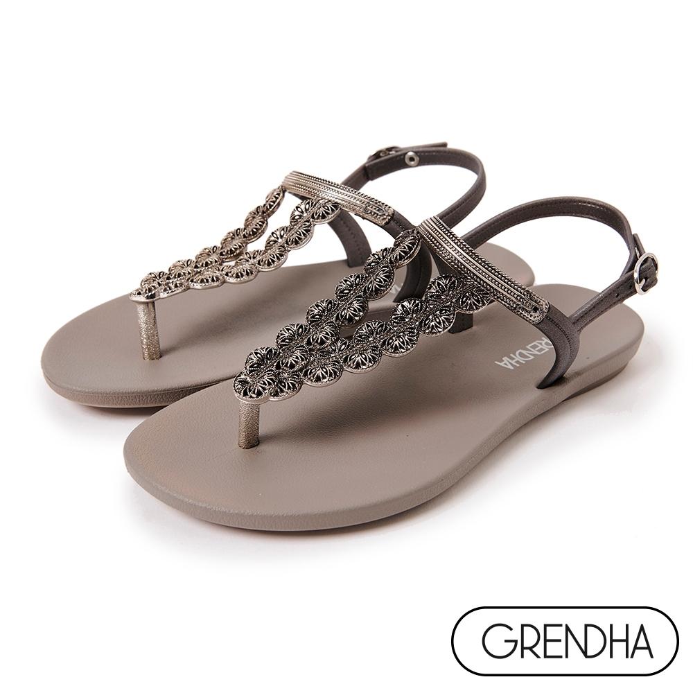 Grendha 華麗喀拉拉邦平底涼鞋-銀灰