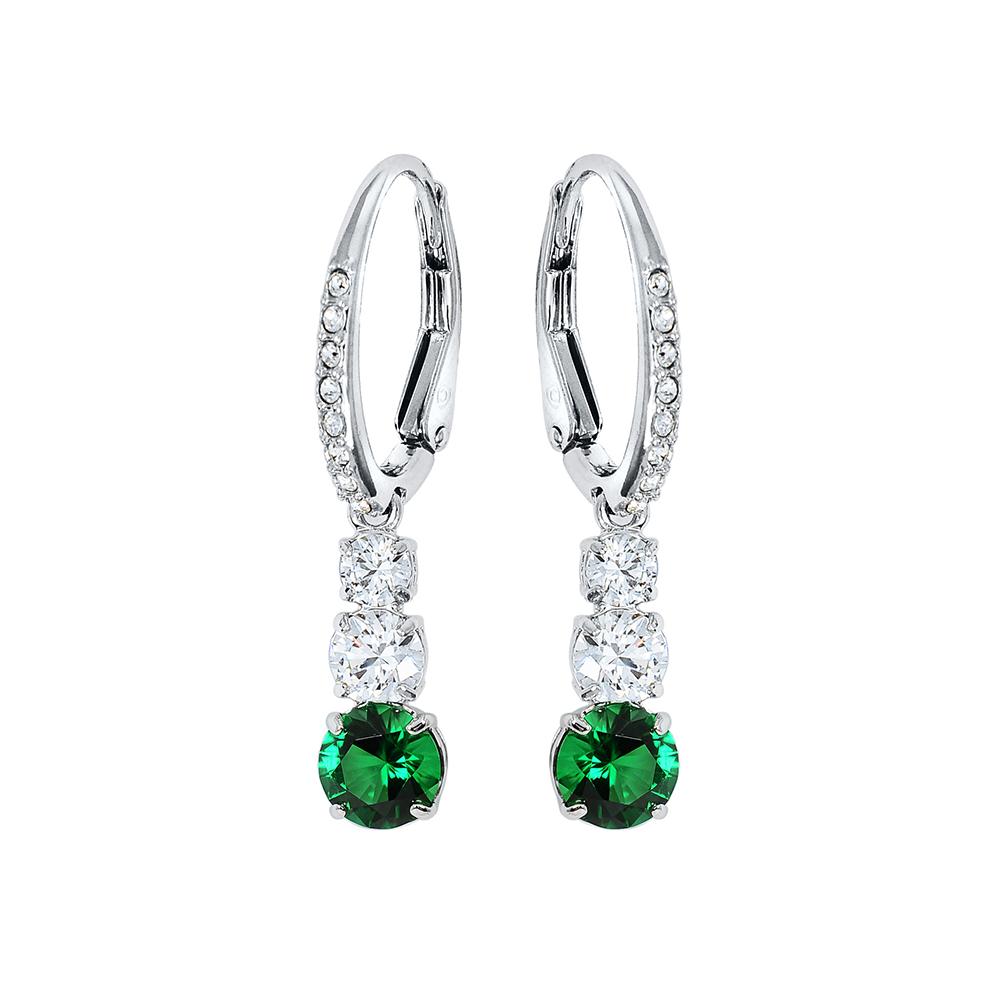 SWAROVSKI 施華洛世奇 Attract Trilogy長條綠水晶造型垂墜銀色耳環