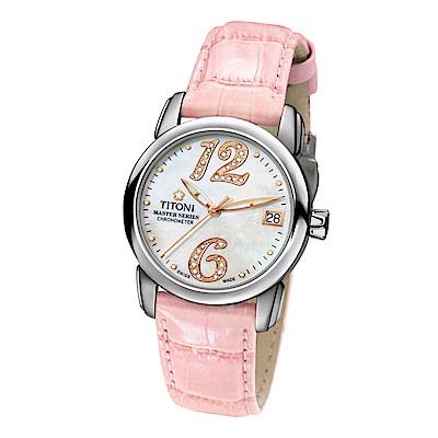 TITONI瑞士梅花錶 大師系列晶鑽女錶-天文台認證23588 S-ST-331R