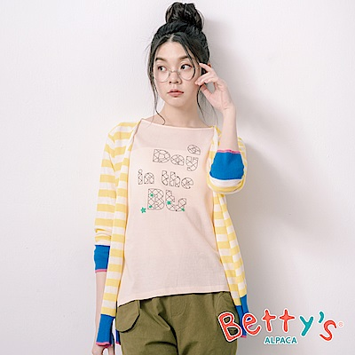 betty's貝蒂思 條紋跳色繡西瓜針織罩衫(淺黃)