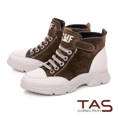 TAS異材質拼接綁帶造型魔鬼氈中筒休閒鞋-個性棕