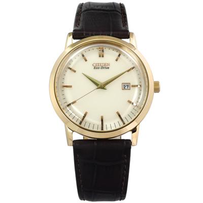 CITIZEN 星辰表 光動能日期日本機芯真皮手錶-米白x香檳金框x深咖啡/40mm