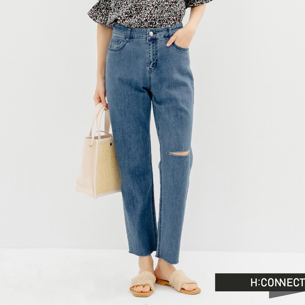 H:CONNECT 韓國品牌 女裝 -自然割破直筒Baggy牛仔褲-深藍色
