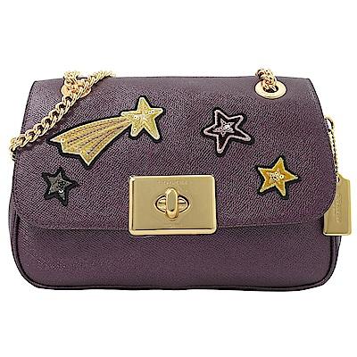 COACH 金屬轉釦防刮牛皮亮片星星造型翻蓋斜背鍊包(紫)
