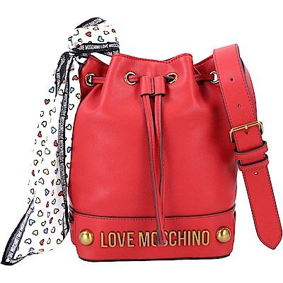 LOVE MOSCHINO 愛心印花絲巾水桶包(紅色)