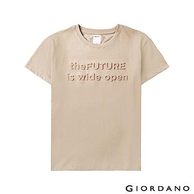GIORDANO 女裝theFUTURE系列立體印花短袖T恤-11 牛津杏