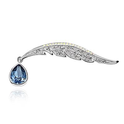 RJ New York海神之淚手工鑲鑽水晶胸針別針兩用 藍色