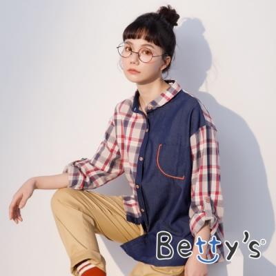 betty's貝蒂思 牛仔拼接格紋襯衫(紅格子)