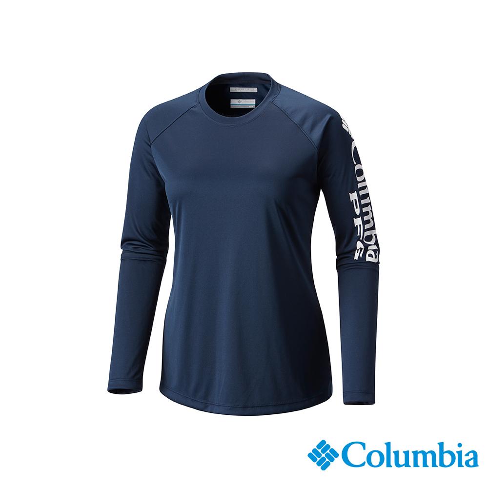 Columbia 哥倫比亞 女款-UPF50快排長袖上衣-深藍 UFL61600NY