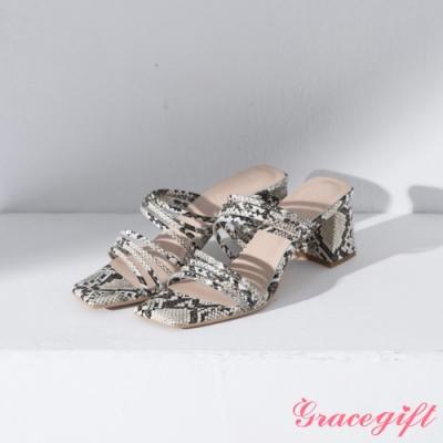 Grace gift X Ann-聯名細帶斜方頭中跟涼鞋 米蛇紋